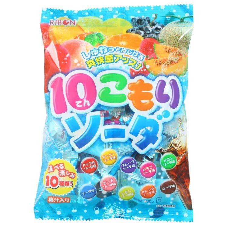 日本进口零食 RIBON理本10味水果汽水味硬糖