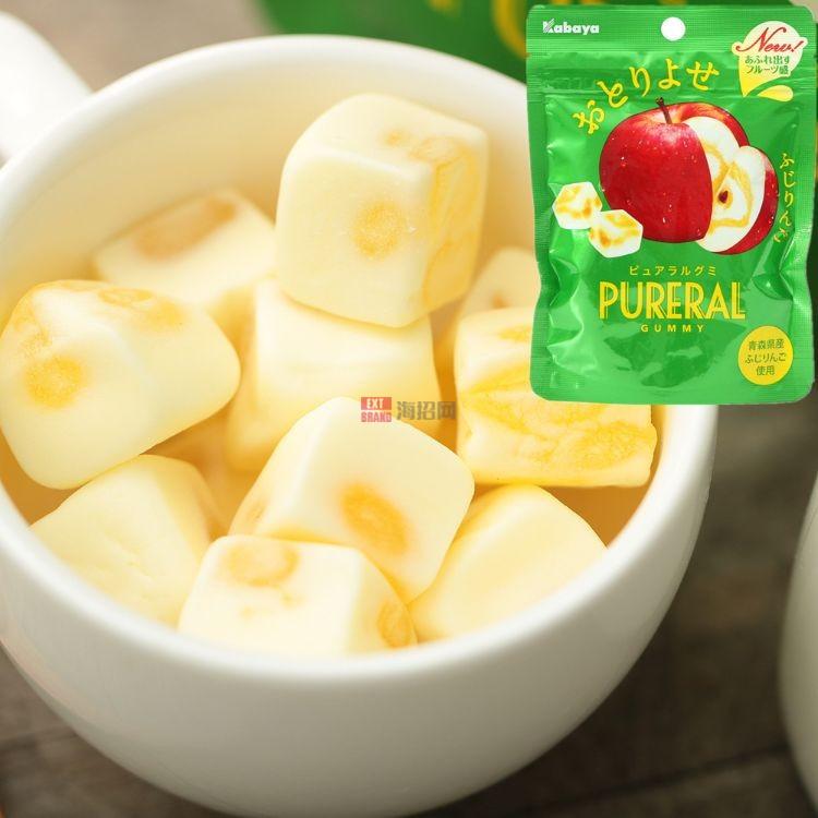 日本进口零食卡巴呀Kabaya 苹果双层果汁棉花糖夹心软糖